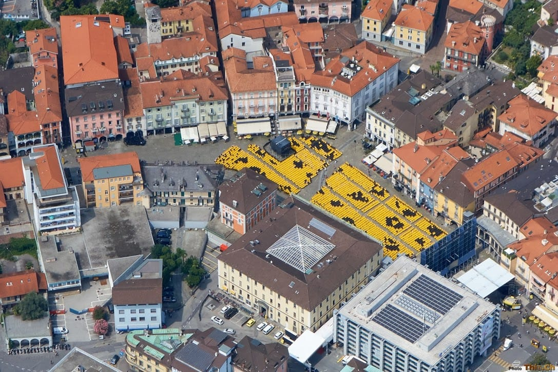 Flying over Piazza Grande Locarno Film Festival